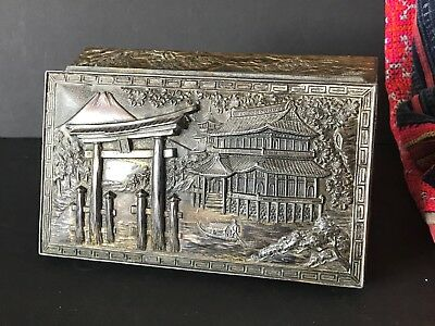 Old Japanese Pewter / Metal Ornate Box …beautiful collection piece