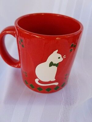 Vintage Waechtersbach  Red CHRISTMAS MUG White CAT