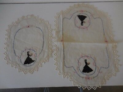 set of 2 hand made linen doilies/solid embroidered Victorian lady's in black