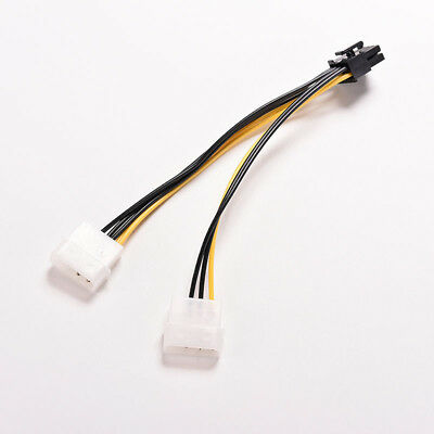PCI Express Male To Dual LP4 4Pin Molex  IDE Power  Cable Adapter 16cm 8 Pin*1