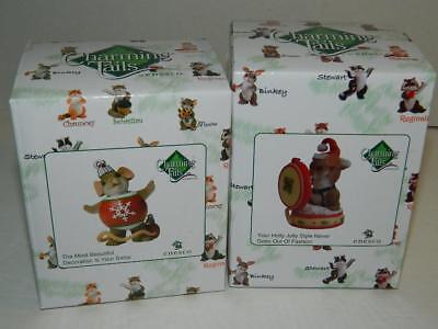 Charming Tails Holiday Figurines Ornament Santa Suit Mouse Xmas Mice Set/2 New