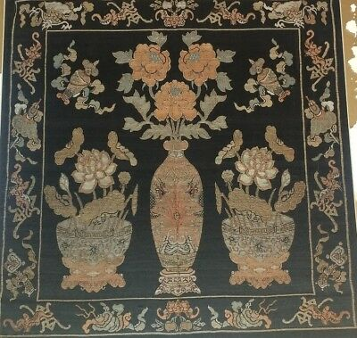 Fine Chinese Embroidered Textile with vases and plants