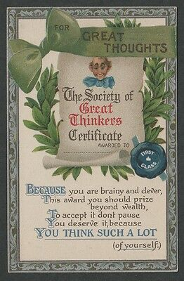 """k3369)       EARLY POSTCARD FOR GREAT THOUGHTS - THINKERS CERTIFICATE """"THINK"""""""