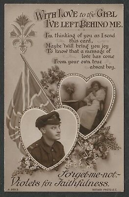 e900)   PATRIOTIC POSTCARD: WITH LOVE TO THE GIRL I'VE LEFT BEHIND ME. FROM 1917