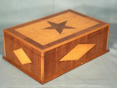 VINTAGE FOLK ART EARLY 20th CENTURY HAND MADE STAR+DIAMOND INLAID DESK BOX