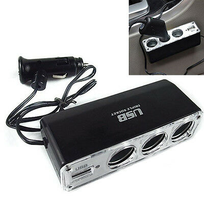 Allume-cigare voiture Multi Socket Adaptateur Chargeur USB 3 voies AT AT