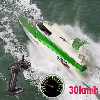 FT009 2.4G 4CH 30km/h Water Cooling Racing Flipped RC Boat Speedboat Green XMAS