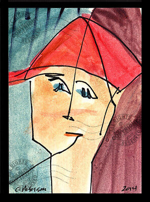 Boy in a Red Ball Cap 2014 ORIGINAL ACEO miniature Abstract OIL PAINTING Signed