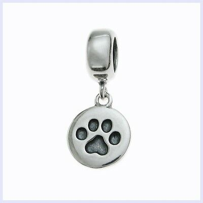 Sterling Silver Dog Puppy Paw Footprint Round Bead for European Charm Bracelet