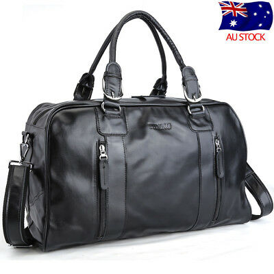Men Real Cow Leather Travel Luggage Overnight Suitcases Duffle Gym Shoulder Bag