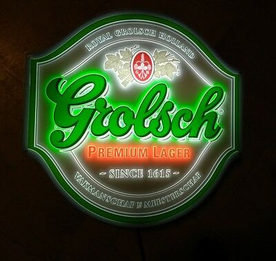 Grolsch Lighted Beer Sign Holland Lager Hard To Find Very Nice Art Lite Usa
