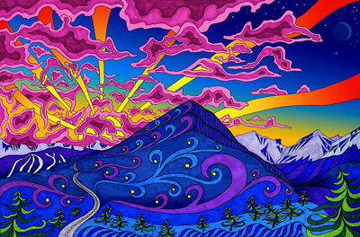 New Psychedelic Trippy Art Colorful Fabric Silk Poster Home Decor 13x20in 012