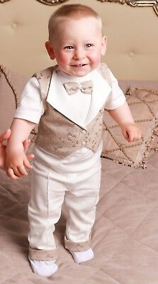 Baby Boys 3 pc Suit Wedding Christening Bow Tie Outfit Toddler Formal Tuxedo
