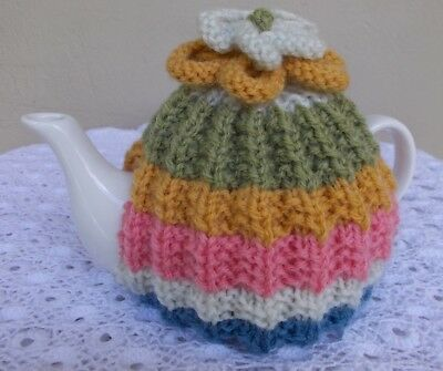 Hand Knitted Multi Colored Tea Cosy (Cosie)