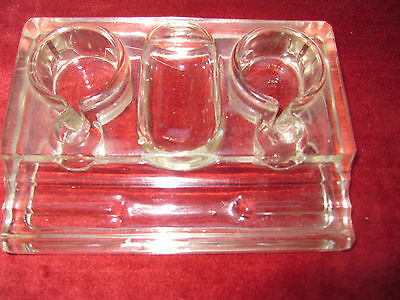 Vintage Glass Inkwell Pen Stand