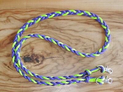 SOFTplaited Pony/Shetland/Sporting clip on loop reins Purple and Lime 1.9mt long