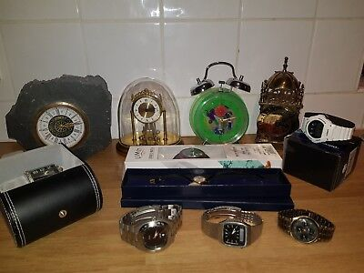 Superb job lot of 12 watches and clocks all working and two new and boxed