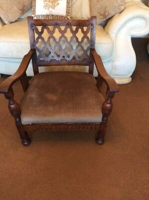 103 - Edwardian SOLID OAK Inlaid Tub Armchair...excellent condition