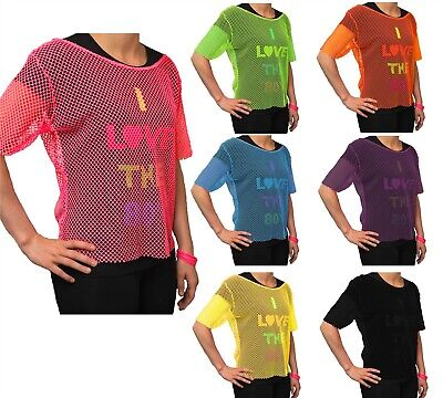 Ladies Fancy Dress Neon Mesh Top 80S Style Fishnet Tshirt Party Accessory Disco
