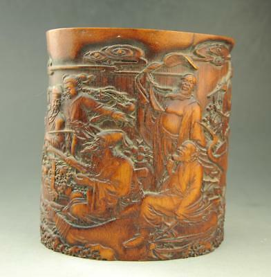 Chinese old  Exquisite hand engraving Eight Immortals  bamboo brush pot