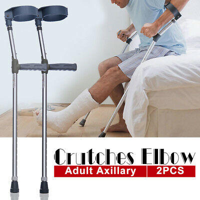2xAdjustable Underarm Forearm Crutches Walking Stick Lightweight Axillary Crutch