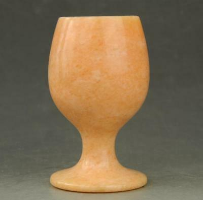 Chinese hand carved delicate Natura yellow Jade Beautiful wine Cup