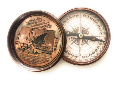 Christmas Gift Maritime Brass Antique Titanic Poem Compass