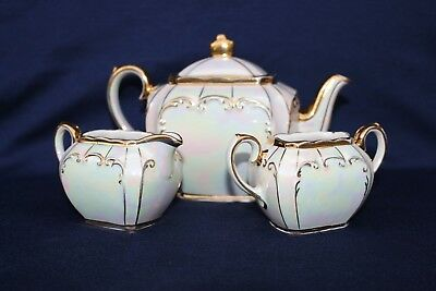 Rare Vintage Mid-Size Sadler Pearl Lustre and Gilded Tea Set c1947+