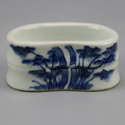 Chinese old  porcelain Blue & white bamboo pattern writing brush washer