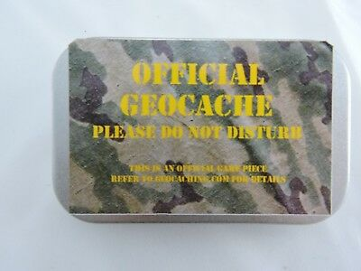 Geocache Cache Container Tin. Hinged Metal Lid  . Magnetic Or Not Ready To Hide