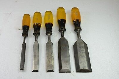 group lot of 5 Stanley bevelled  Yellow Chisels 1/2 to 2 inch