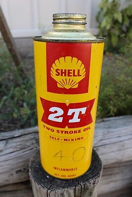 ORIGINAL COLLECTABLE SHELL 2T Two Stroke 1 Quart Oil Tin GREASE OIL PETROL