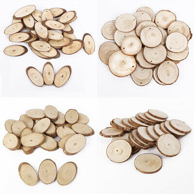 Wooden Oval/Round Slices Natural Tree Bark Plaque Decorative Wedding Patterns