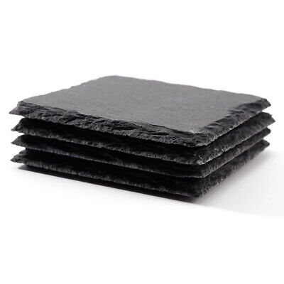 4pcs Natural Slate Square Coaster Placemat Plate Serving Runner Tray