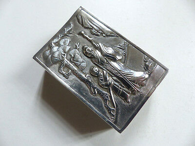 SUPERB 19th C. CHINESE SILVER MATCH BOX HOLDER FIGURES DRAGON CHINESE MAKER MARK