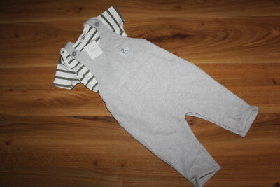 NEXT boys grey dungarees vest outfit 9-12 months NEW *I'll combine postage