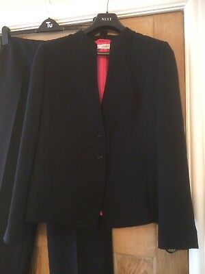 Planet Black Trouser Suit Size 16 With Pink Lining Unusual Neckline