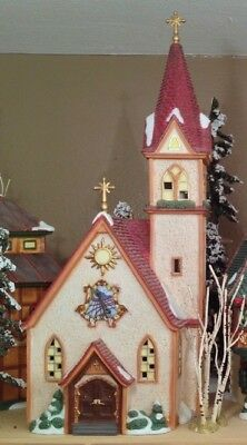 Dept 56 Merry Christmas Church Alpine Village, Includes Nativity & Crosses 56237