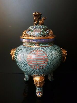 Very fine quality Chinese cloisonne gilted copper censer