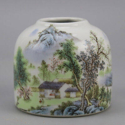 China old porcelain famille rose glaze landscape pattern writing-brush washer