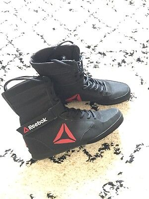 Reebok Boxing Boots Size 10 Black and Red Excellent Condition