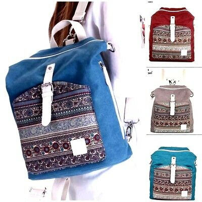 Canvasartisan top quality women canvas backpack bookbag female dual purpose