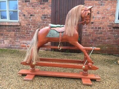 Large Rocking Horse By Stevenson Brothers Kent Natural Wood Horse Christmas Gift