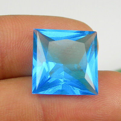 12.53 carat 15x15mm Square Cut London Blue Color Simulated Topaz Loose Gemstone