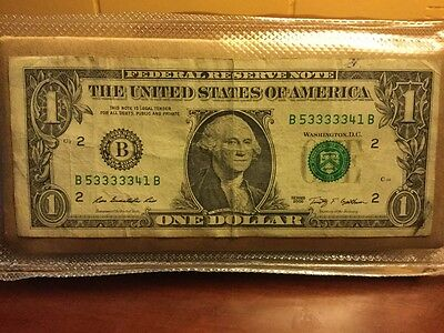 $1.00 bill with 5 consecutive 3's in serial number