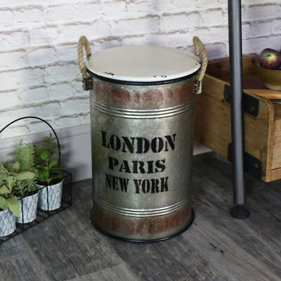 Metal storage bin laundry basket retro industrial home furniture bathroom