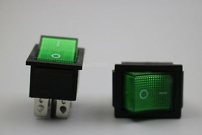5Pcs Rocker Switch with Green light KCD4-201N 4 pin on/off 16A/250V