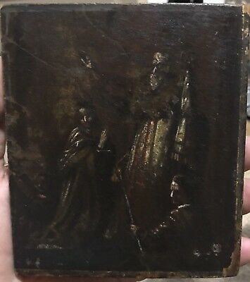 Antique 19th Century Russian Icon Egg Tempera on Wood Unknown Saint With 2 Women