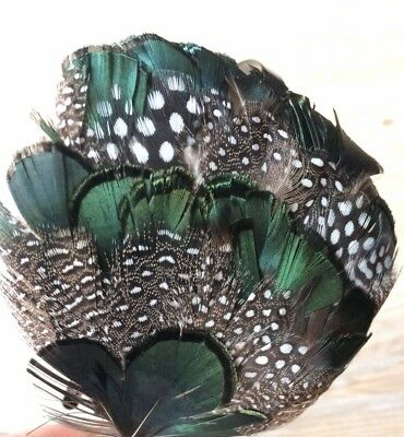 Green&Brown,White Spotted Feather Headband Fascinator Handmade,Bridal,Bridesmaid