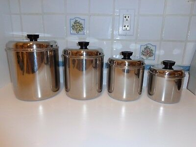 Vintage Revere Ware Canister Set Stainless Steel ~ Shiny